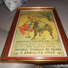 Carteles Toros: CARTE TOROS GRANADA 31 MARZO 1929 CHICUELO GITANILLO DE TRIANA ARMILLITA CHICO TOROS CARMEN FEDERICO. Lote 183761868