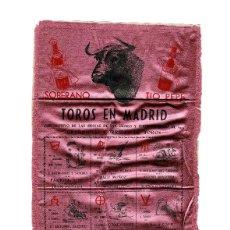 Carteles Toros: CARTEL DE TOROS EN SEDA. MADRID. 1952. MEDIDAS APROX. 52X25CM.. Lote 183782201