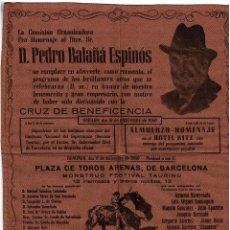 Carteles Toros: CARTEL DE TOROS EN SEDA. HOMENAJE A D. PEDRO BALAÑÁ ESPINÓS.1960. BARCELONA. 30X39.. Lote 183782831