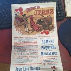 Carteles Toros: CARTEL DE TOROS SEDA JEREZ AÑO 1980 FERIA VENDIMIA CURRO ROMERO PAQUIRRI MANZANARES. Lote 183881426