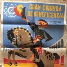 Carteles Toros: CARTEL DE TELA CORRIDA DE BENEFICENCIA MALAGA 1963. Lote 184242097