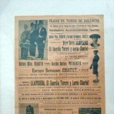 Carteles Toros: ANTIGUO CARTEL TOROS 1926 FERIA CORPUS VALENCIA, LLAPISERA, EL GUARDIA TORERO Y LERIN CHARLOT . Lote 186401466
