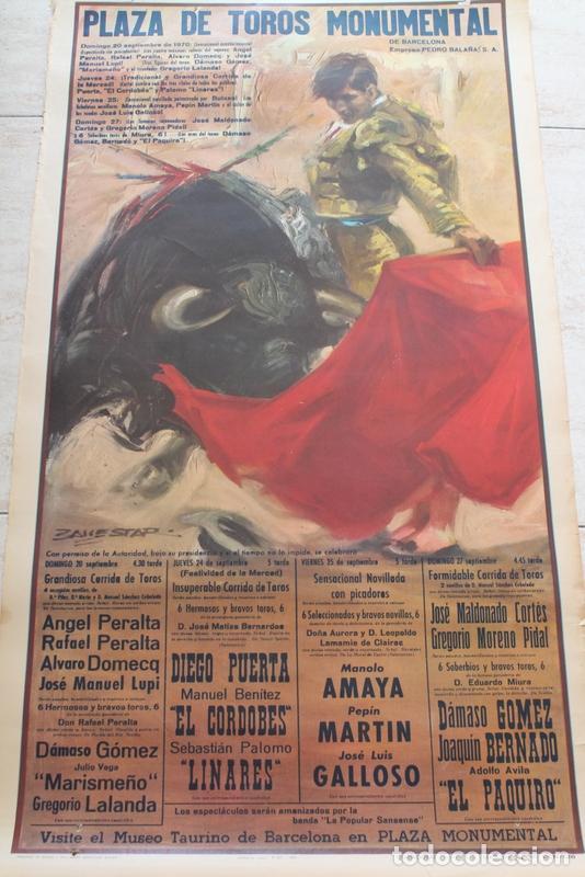 CARTEL DE TOROS DE BARCELONA. 20, 24, 25 Y 27 DE SEPTIEMBRE DE 1970. EL CORDOBÉS, DIEGO PUERTA. (Coleccionismo - Carteles Gran Formato - Carteles Toros)