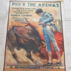 Carteles Toros: CARTEL DE TOROS DE BARCELONA. 14 DE OCTUBRE DE 1962. RAFAEL PEDROSA, BOMBITA, PALMEÑO. Lote 186613441