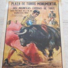 Carteles Toros: CARTEL DE TOROS DE BARCELONA. 13 Y 16 DE SEPTIEMBRE DE 1962. LUIS SEGURA, DIEGO PUERTA, EL VITI. Lote 186614792