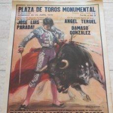 Carteles Toros: CARTEL DE TOROS DE BARCELONA. 26 DE ABRIL DE 1970. ÁNGEL TERUEL, DÁMASO GONZÁLEZ Y JOSÉ LUIS PARADA.. Lote 186626441