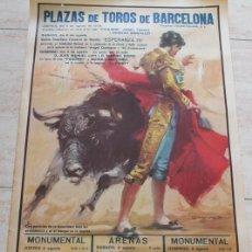 Carteles Toros: CARTEL DE TOROS DE BARCELONA. 6, 8 Y 9 DE AGOSTO DE 1970. PAQUIRRI, ANGEL TERUEL, DÁMASO GONZÁLEZ,. Lote 186630111