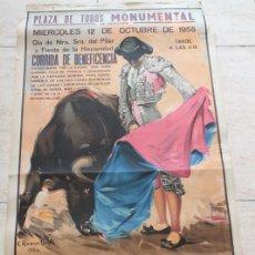 Carteles Toros: CARTEL DE TOROS DE BARCELONA. 12 DE OCTUBRE DE 1955. BENEFICENCIA. CAPITANÍA GENERAL. BERNADÓ . Lote 186632983