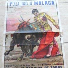 Carteles Toros: CARTEL DE TOROS DE MÁLAGA. 13 DE MAYO DE 1973. GALLOSO, JOSÉ ORTEGA Y JOSÉ JULIO GRANADA.. Lote 186636443