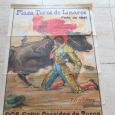 Carteles Toros: CARTEL DE TOROS DE LINARES. FERIA DE 1947. DÍAS 28 Y 29 DE AGOSTO. MUERTE DE MANOLETE.. Lote 186638223