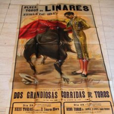 Carteles Toros: CARTEL DE TOROS DE LINARES. FERIA DE 1947. DÍAS 28 Y 29 DE AGOSTO. MANOLETE. Lote 187369921