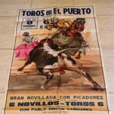 Carteles Toros: CARTEL DE TOROS DE EL PUERTO. 8 DE JULIO DE 1973. GUILLERMO CÍSCAR CHAVALO, ANTONIO GARDEL, C. LUQUE. Lote 187370452