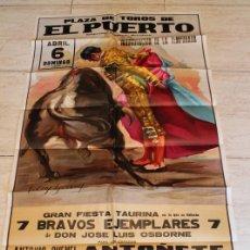 Carteles Toros: CARTEL DE TOROS DE EL PUERTO. 6 DE ABRIL DE 1975. ANTOÑETE, ELOY CAVAZOS, JULIÁN GARCÍA,. Lote 187370858