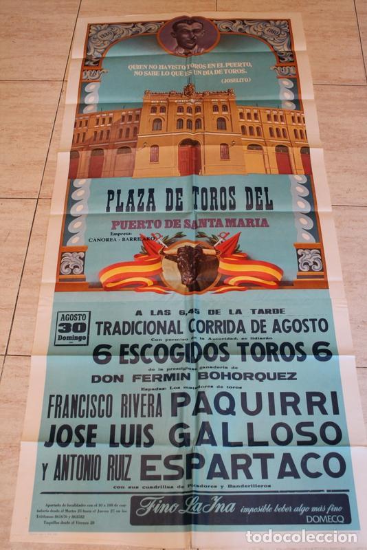 CARTEL DE TOROS DEL PUERTO DE SANTAMARÍA. 30 DE AGOSTO DE 1980. PAQUIRRI, GALLOSO Y ESPARTACO (Coleccionismo - Carteles Gran Formato - Carteles Toros)