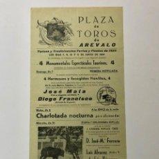 Carteles Toros: PLAZA DE TOROS DE ARÉVALO (ÁVILA) 1959. Lote 187612898