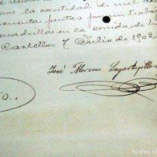 Affiches Tauromachie: TOROS,CURIOSO , CONTRATO 1902 ,LAGARTIJILLO CHICO, PLAZA DE CASTELLON, FIRMADA.W. Lote 188401458