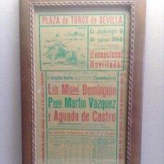 Carteles Toros: CARTEL NOVILLADA PLAZA DE TOROS SEVILLA. LUÍS MIGUEL DOMINGUÍN.(1944). Lote 189651461