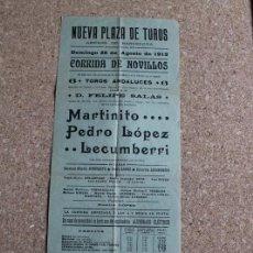 Carteles Toros: CARTEL DE TOROS DE BARCELONA. 25 DE AGOSTO DE 1912. MARTINITO, PEDRO LÓPEZ Y ZACARÍAS LECUMBERRI. Lote 190447587