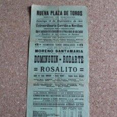 Carteles Toros: CARTEL DE TOROS DE BARCELONA. 15 DE SEPTIEMBRE DE 1912. DOMINGUÍN, RODOLFO RODARTE Y ROSALITO. Lote 190447782
