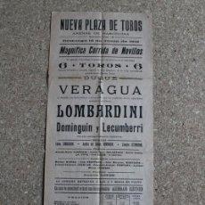 Carteles Toros: CARTEL DE TOROS DE BARCELONA. 16 DE JUNIO DE 1912. LOMBARDINI, DOMINGUÍN Y ZACARÍAS LECUMBERRI. . Lote 190448191
