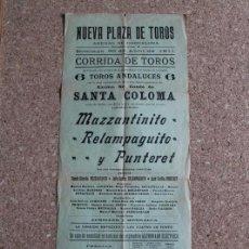 Carteles Toros: CARTEL DE TOROS DE BARCELONA. 30 DE ABRIL DE 1911. MAZZANTINITO, ELAMPAGUITO Y JUAN CECILIO PUNTERET. Lote 190448287