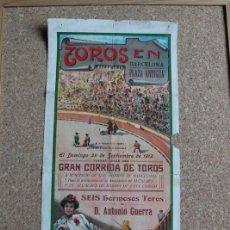 Carteles Toros: CARTEL DE TOROS DE BARCELONA. 29 DE SEPTIEMBRE DE 1912. CONEJITO, MACHAQUITO, M. RODRÍGUEZ MANOLETE. Lote 190448641