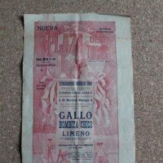 Carteles Toros: CARTEL DE TOROS DE BARCELONA. 25 DE JULIO DE 1913. RAFAEL GÓMEZ GALLO, BOMBITA CHICO Y LIMEÑO. Lote 190448742