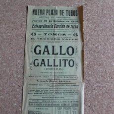 Carteles Toros: CARTEL DE TOROS DE BARCELONA. 10 DE OCTUBRE DE 1912. RAFAEL GÓMEZ GALLO Y JOSÉ GÓMEZ GALLITO CHICO.. Lote 190449186