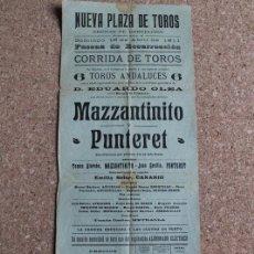 Carteles Toros: CARTEL DE TOROS DE BARCELONA. 16 DE ABRIL DE 1911. TOMÁS ALARCÓN MAZZANTINITO, JUAN CECILIO PUNTERET. Lote 190449285
