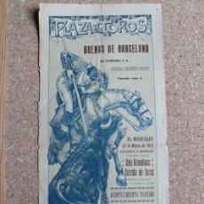 Carteles Toros: CARTEL DE TOROS DE BARCELONA. 25 DE MARZO DE 1914. R. GÓMEZ GALLO, JOSÉ GÓMEZ GALLITO, JUAN BELMONTE. Lote 190449565