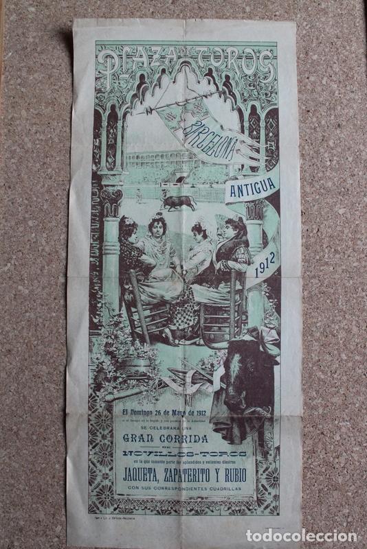 CARTEL DE TOROS DE BARCELONA. 26 DE MAYO DE 1912. JAQUETA, ZAPATERITO Y FRANCISCO VILA RUBIO. (Coleccionismo - Carteles Gran Formato - Carteles Toros)