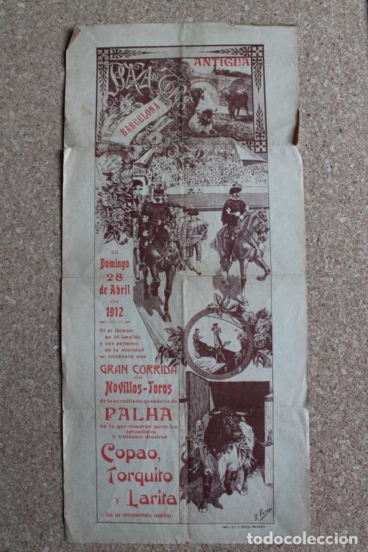 CARTEL DE TOROS DE BARCELONA. 28 DE ABRIL DE 1912. ANTONIO MATA COPAO, TORQUITO, MATÍAS LARA LARITA (Coleccionismo - Carteles Gran Formato - Carteles Toros)