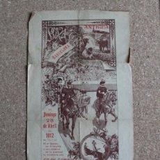Carteles Toros: CARTEL DE TOROS DE BARCELONA. 28 DE ABRIL DE 1912. ANTONIO MATA COPAO, TORQUITO, MATÍAS LARA LARITA. Lote 190450176