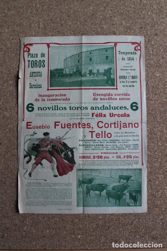 CARTEL DE TOROS DE BARCELONA. 1 DE MARZO DE 1914. EUSEBIO FUENTES, CORTIJANO Y TELLO (Coleccionismo - Carteles Gran Formato - Carteles Toros)