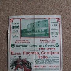 Carteles Toros: CARTEL DE TOROS DE BARCELONA. 1 DE MARZO DE 1914. EUSEBIO FUENTES, CORTIJANO Y TELLO. Lote 190450242