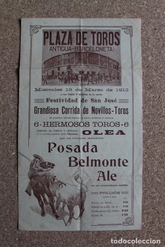 CARTEL DE TOROS DE BARCELONA. 19 DE MARZO DE 1913. POSADA, BELMONTE Y ALE. (Coleccionismo - Carteles Gran Formato - Carteles Toros)