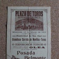 Carteles Toros: CARTEL DE TOROS DE BARCELONA. 19 DE MARZO DE 1913. POSADA, BELMONTE Y ALE. . Lote 190450361