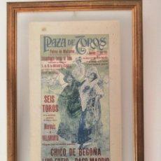 Carteles Toros: CARTEL DE TOROS EN SEDA NATURAL ENMARCADO , AÑO 1913. Lote 190583833