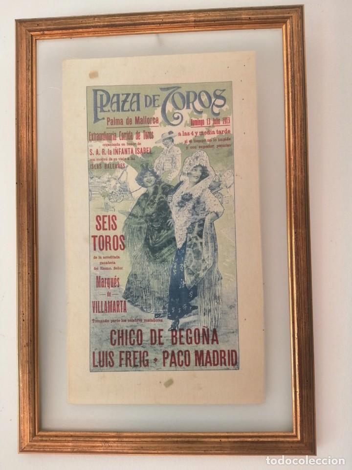 Carteles Toros: Cartel de Toros en Seda Natural enmarcado , año 1913 - Foto 3 - 190583833