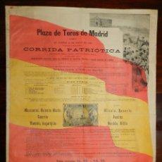 Carteles Toros: CARTEL DE TOROS, CORRIDA PATRIOTICA 12 DE MAYO 1898, PLAZA DE TOROS DEMADRID, MAZZANTINI, VALENTIN M. Lote 190818635