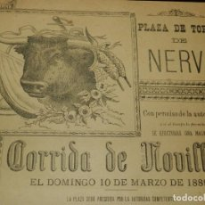 Carteles Toros: CARTEL DE TOROS, 10 DE MARZO DE 1889, PLAZA DE TOROS DE NERVA, CORRIDA DE NOVILLOS, CUADRILLA DE NIÑ. Lote 190819012