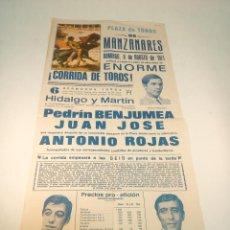 Carteles Toros: CARTEL TAURINO. PLAZA DE TOROS DE MANZANARES. 8 DE AGOSTO DE 1971. PEDRÍN BENJUMEA Y OTROS.. Lote 190848762