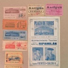 Carteles Toros: LOTE DE ENTRADAS, PLAZA DE TOROS ANTIGUA DE LA BARCELONETA, ARENAS Y MONUMENTAL. Lote 191491387