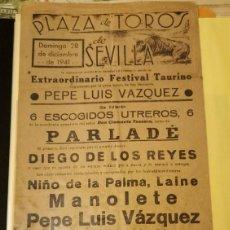 Carteles Toros: SEVILLA, 1941, CARTEL DE TOROS, MANOLETE, SÁNCHEZ MEJÍAS, PEPE LUIS. Lote 192000503