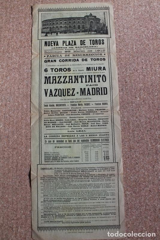 CARTEL DE TOROS DE BARCELONA. 23 DE MARZO DE 1913. MAZZANTINITO, FCO.MARTÍN VÁZQUEZ, PACO MADRID (Coleccionismo - Carteles Gran Formato - Carteles Toros)