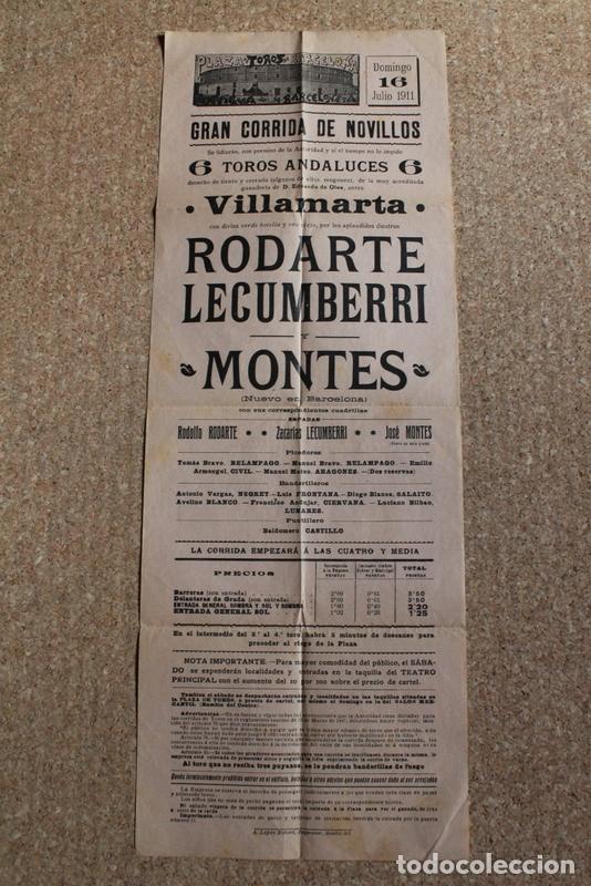 CARTEL DE TOROS DE BARCELONA. 16 DE JULIO DE 1911.RODOLFO RODARTE, ZACARÍAS LECUMBERRI Y JOSÉ MONTES (Coleccionismo - Carteles Gran Formato - Carteles Toros)