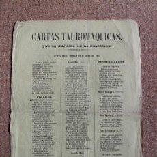 Carteles Toros: CARTAS TAUROMÁQUICAS. 20 DE JUNIO DE 1852. JULIÁN CASAS (EL SALAMANQUINO) MANUEL DÍAZ (LAVI) G. MORA. Lote 192315391