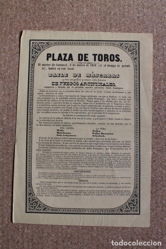 CARTEL DE TOROS DE MADRID. 4 DE MARZO DE 1851. BAILE DE MÁSCARAS. MAESTRO POLVORISTA ABDÓN DOMÍNGUEZ (Coleccionismo - Carteles Gran Formato - Carteles Toros)