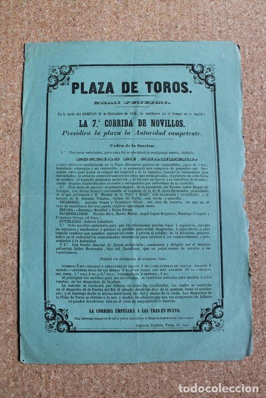 CARTEL DE TOROS DE MADRID. 28 DE DICIEMBRE DE 1856. DOMINGO MENDIBIL Y PABLO ERRAIZ. (Coleccionismo - Carteles Gran Formato - Carteles Toros)