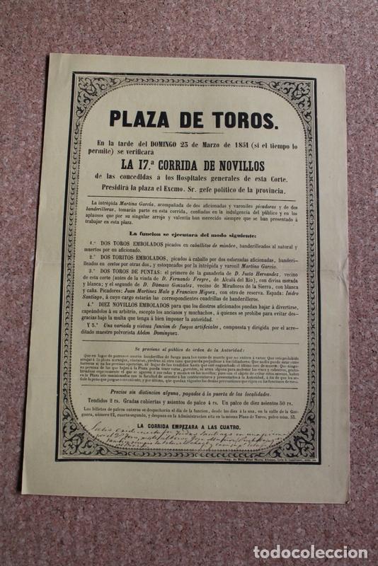 CARTEL DE TOROS DE MADRID. 23 DE MARZO DE 1851. HOSPITALES GENERALES DE ESTA CORTE. ISIDRO SANTIAGO (Coleccionismo - Carteles Gran Formato - Carteles Toros)